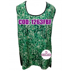 Musculosas verde de gasa, estampadas adelante y transparentes en espalda