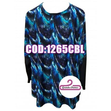 Blusas combinadas en seda fría estampada y espalda de gasa