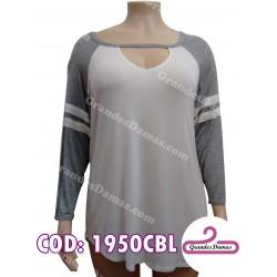 Buzo combinado en blanco y gris Escote V, manga larga