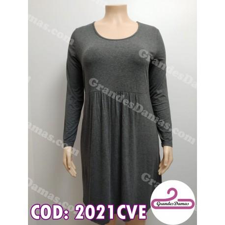 Vestido de modal licrado. COLOR GRIS