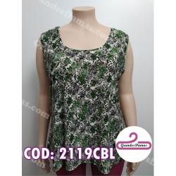 Musculosa seda fría. Estampada en tonos de gris y verde