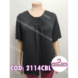 Blusa de acetato. COLOR NEGRO