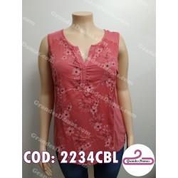 Musculosa rosa viejo bordada en delantera
