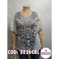 Blusa blanca sublimada con brillos. Color natural