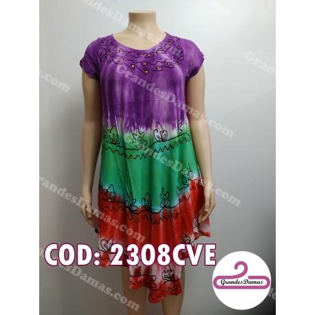 Vestido indú violeta verde y rojo