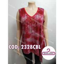 Musculosa irregular estampada. COLOR ROJO
