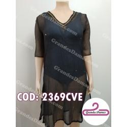 Vestido bambula color negro playero