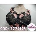 Soutien negro bordado con rosa. TALLA 125 COPA PROFUNDA