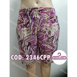 Short seda fría estampado en tonos de lila y bordeax