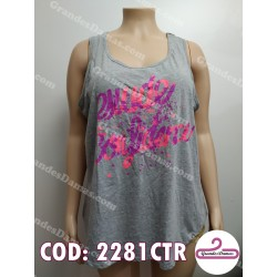 Musculosa con estampa confidence. COLOR GRIS
