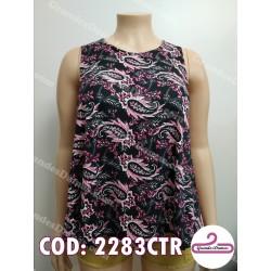 Musculosa estampado arabescos negro y rosa