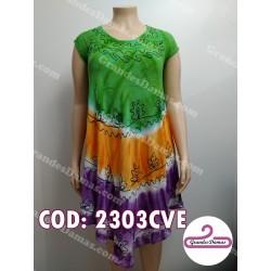 Vestido indú verde naranja y violeta