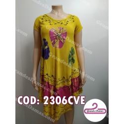 Vestido indú amarillo con guarda fucsia