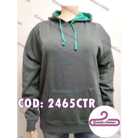 Canguro gris con capucha verde esmeralda