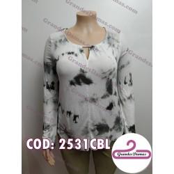 Blusa elastizada batik blanco y gris