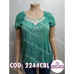 Buzo estampado con verde. Crochet en escote