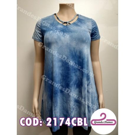 Buzo vestido batik escote cruzado. COLOR CELESTE