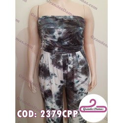 Mono strapless. Estampado batik en negro, gris y blanco