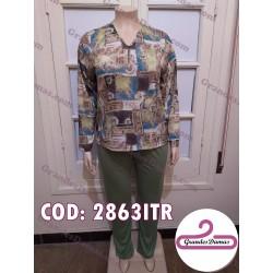 Pijama estampado con detalles en verde militar