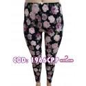 Calza estampada. Fondo negro con flores rosa