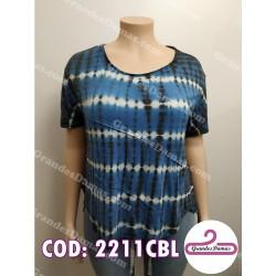 Buzo batik. Estampado en azul marino, blanco y negro
