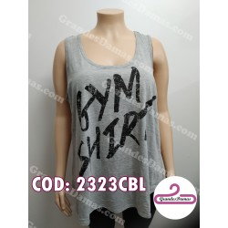 Musculosa con estampa GYM. COLOR GRIS