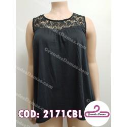 Musculosa con crochet negro