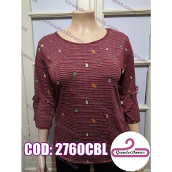 Blusa elastizada estampada. COLOR BORDEAUX